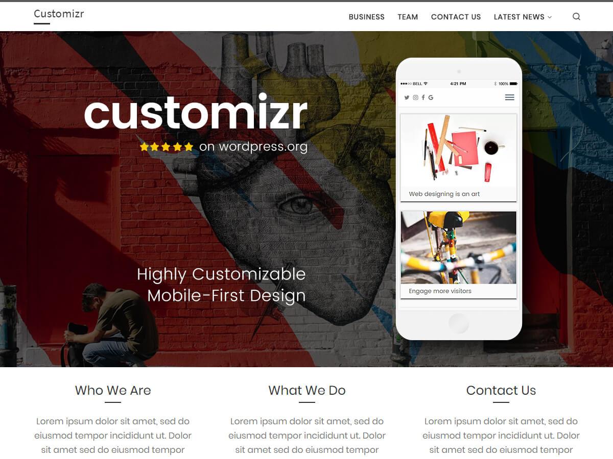 Customizr és un tema adaptable net.