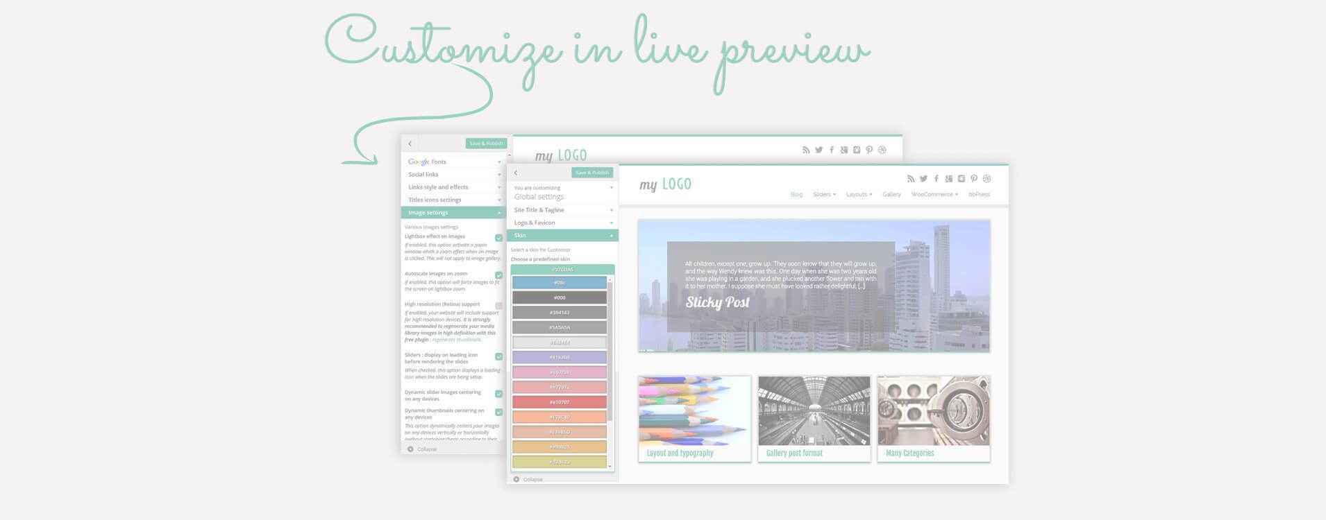 Moltes de les opcions de disposició i disseny estan disponibles a la pantalla de personalització de Wordpress: vegeu els vostres canvis en viu!